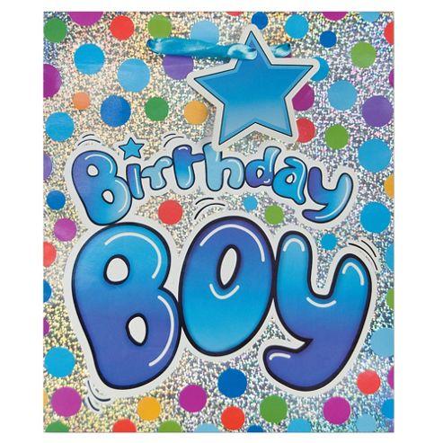 Blue Birthday Boy Holo bag - med