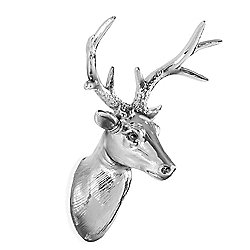 Silver Resin Wall Mountable 18cm Stag's Head Sculpture Home Decor
