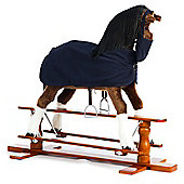 Large Rocking Horse Champion with Blue Rug and Nose Bag