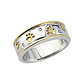 Sterling Silver and Yellow Rhodium Cubic Zirconia Set Ring