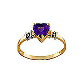 QP Jewellers Diamond & Amethyst Heart Ring in 14K Gold