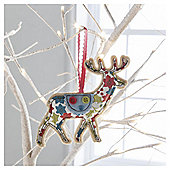 Gisela Graham Fabric Reindeer Floral Hanging Christmas Bauble Decoration