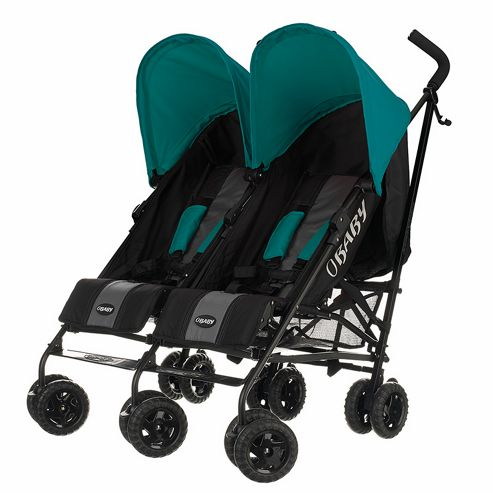Obaby Apollo Black & Grey Twin Stroller, Turquoise