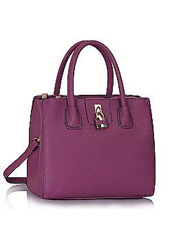 Purple Three Zip Compartments Handbag Padlock Grab Bag