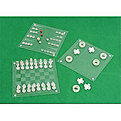 Cq Glass 4 In 1 Games Set Chess, Backgammon, Draughts