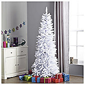 Festive White Iridescent Pencil Christmas Tree, 6.5ft
