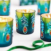 Peacock Design Christmas Tea Light Holder - Christmas Candle Holder