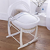 Clair de Lune White Wicker Moses Basket (Stardust Blue)