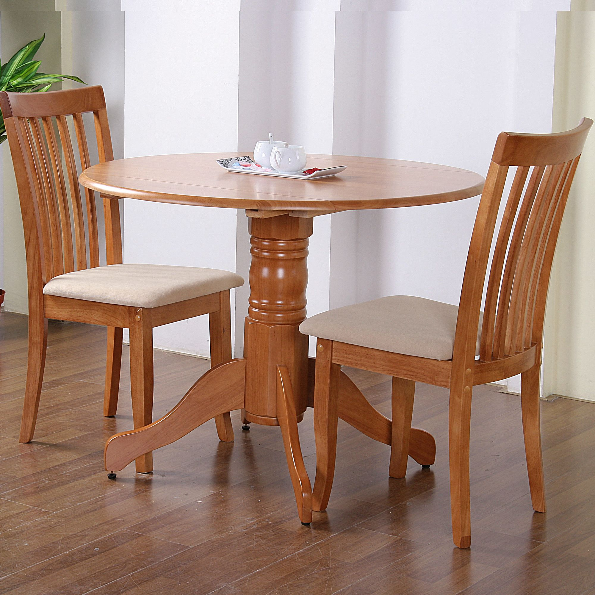 G&P Furniture Windsor House 3-Piece Bristol Round Drop Leaf Dining Set with Slatted Back Chair - Maple at Tesco Direct