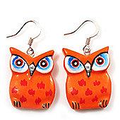 Bright Orange Wood Owl Drop Earrings - 4.5cm Length
