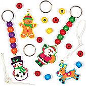 Christmas Wooden Keyring Kits for Children (4 Pcs)