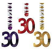 . 30th Foil Dangling Cutouts (3pk)