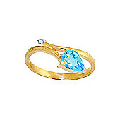 QP Jewellers Diamond & Blue Topaz Top & Tail Ring in 14K Gold