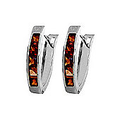 QP Jewellers 0.85ct Garnet Hoop Earrings in Sterling Silver