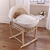 Clair de lune Dimple Natural Wicker Moses Basket - Cream