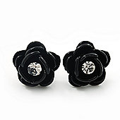 Small Black Enamel Diamante 'Rose' Stud Earrings In Silver Finish - 10mm Diameter