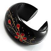 Black Wood Floral Cuff Bangle
