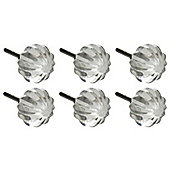Glass Cupboard Drawer Knobs - Round Design - Pack Of 6