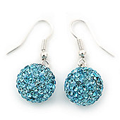 Light Blue Swarovski Crystal Ball Drop Earrings In Silver Plated Finish - 12mm Diameter/ 3cm
