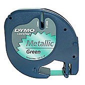 Dymo Letratag Metallic Tape Paper 12mm x4mm - Black/Green