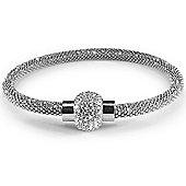 Jewelco London Rhodium Coated Sterling Silver Cubic Zirconia Beaded Magnetic Popcorn Bracelet