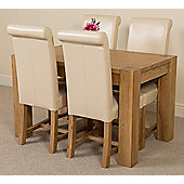 Kuba Chunky Solid Oak 125 cm Dining Table with 4 Ivory Washington Chairs