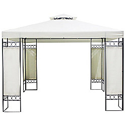 Charles Bentley Beige Steel Art Gazebo