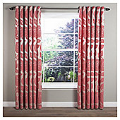 Monaco Lined Eyelet Curtains - Red