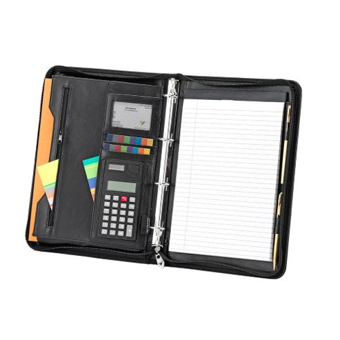 Falcon A4 zip round conference folder with 4 ring binder and calculator