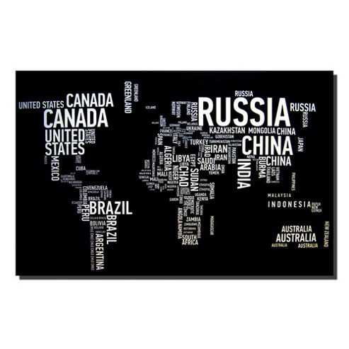 Novus Imports World Map 'Names' Canvas Print
