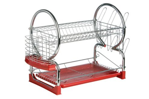 Premier Housewares 56 cm 2 Tier Dish Drainer with Tray - Red