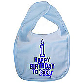 Dirty Fingers Happy 1st Birthday to me! Baby Bib Blue