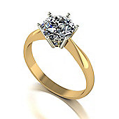 9ct Gold 6 Claw Solitaire ring set with a 7.5mm Round Brilliant Cut Moissanite equivelent 1.50ct