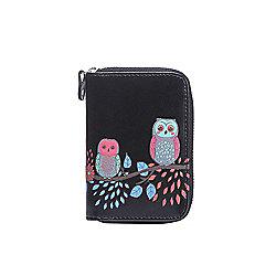 Black Embossed Owl Zip Around Small Purse