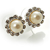 Snow-White Crystal Faux Pearl Stud Earrings