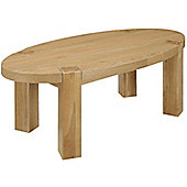 Solid Oak Oval Coffee Table with veneer top