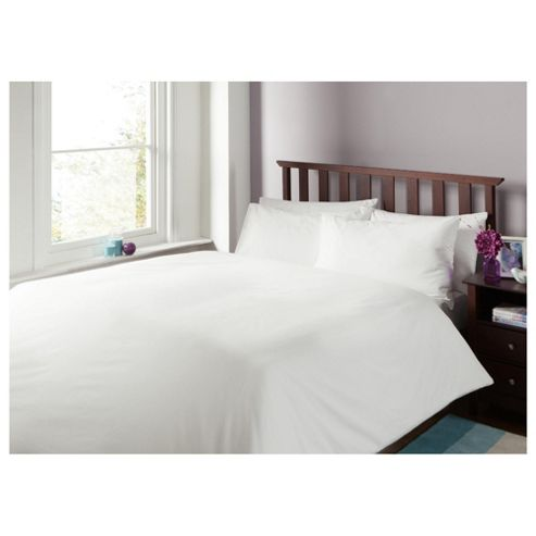 Tesco Cotton Plain Dye Bedset, King, White