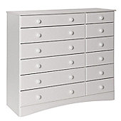 Altruna Scandinavian 12 Drawer Chest - White