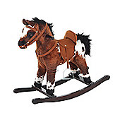 HOMCOM Kids Toy Rocking Horse Wood Plush Pony Handle Ride on Animal Wooden Riding Traditional Rocker Gift w/ Neigh Sound (Dark Brown Horse) …