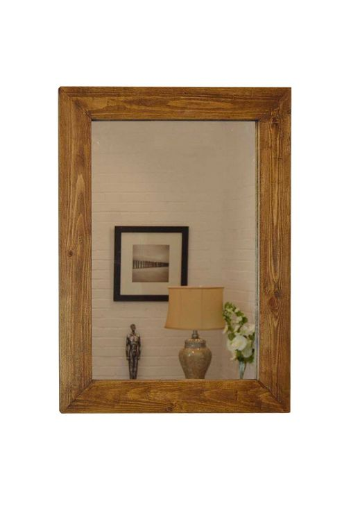 buy large rustic solid wood wall mirror 3ft1 x 2ft3 93cm