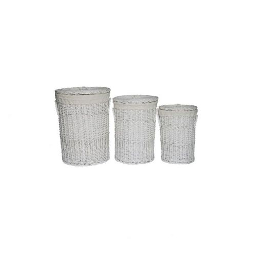 Wicker Valley Willow Round Laundry Basket in White (Set of 3)