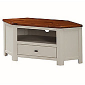 Suffolk Painted Corner TV Stand - Stone Grey & Dark Oak