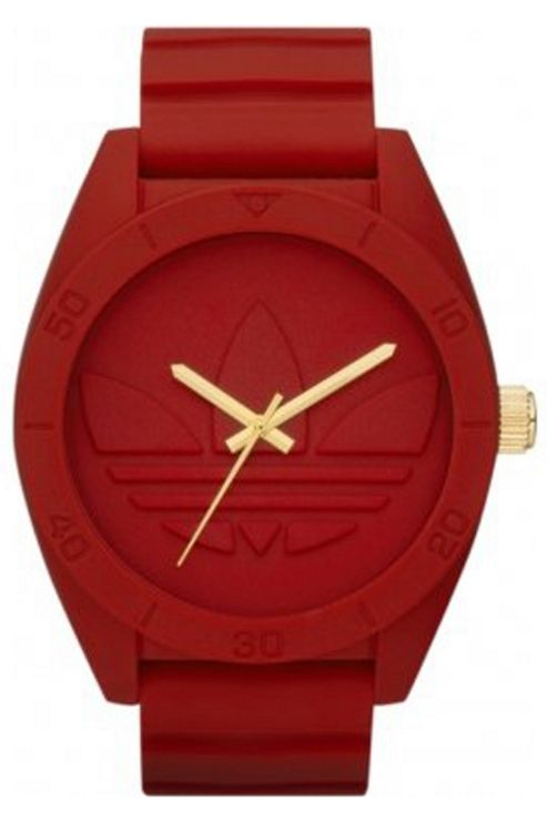 Adidas Mid-Size Santiago All Red Rubber Strap Watch ADH2714