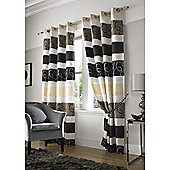 Grosvenor Jacquard Organza Eyelet Lined Curtains - Black