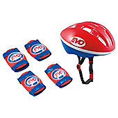 Evo Junior Helmet & Protection Set, Red/Blue