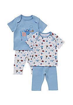 F&F 2 Pack of Sailor Pyjamas - Blue