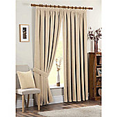 Dreams and Drapes Chenille Spot 3 Pencil Pleat Lined Curtains 90x90 inches (228x228cm) - Cream