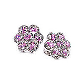 Womens Pink and Clear Crystal Flower Cufflinks