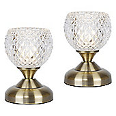 Pair of Round Touch Table Lamps in Antique Brass with Glass Shades
