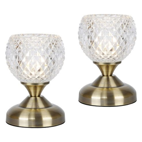 Buy Pair Of Round Touch Table Lamps Antique Brass Amp Glass
